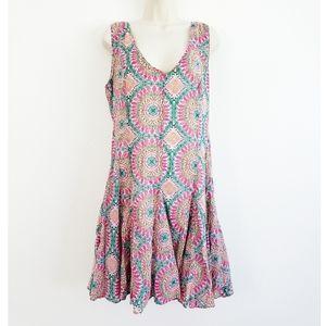 Anthro HD in Paris Geometric Print Flaired Dress